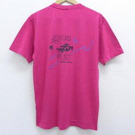 【中古】古着 半袖 ビンテージ ヴィンテージTシャツ 80年代 80s JESUS GO FEST USA製 アメリカ製 濃ピンク Lサイズ 中古 メンズ   春夏 夏物 夏服 ヴィンテージTシャツ メンズファッション カットソー ティーシャツ ティシャツ メンズTシャツ 半袖Tシャツ 半袖ティーシ