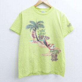 【中古】古着 半袖 ビンテージ ヴィンテージTシャツ 90年代 90s ジミーバフェット ヤシの木 サンダル 鳥 ミキサー コットン クルーネック 丸首 USA製 アメリカ製 薄緑 グリーン Mサイズ 中古 メンズ | 春夏 夏物 夏服 ヴィンテージTシャツ メンズファッション カットソ