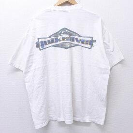 【中古】古着 半袖 ビンテージ ヴィンテージTシャツ 90年代 90s クイックシルバー QUIKSILVER ビッグロゴ 大きいサイズ 2L LL ビッグシルエット ゆったり ビッグサイズ オーバーサイズ コットン クルーネック 丸首 USA製 アメリカ製 白 ホワイト 【spe】 XLサイズ 中古