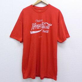 【中古】古着 半袖Tシャツ コカコーラ デッドストック 大きいサイズ 2L LL ビッグシルエット ゆったり ビッグサイズ オーバーサイズ クルーネック 丸首 USA製 アメリカ製 赤 レッド XLサイズ 中古 メンズ 中古メンズ半袖プリントキャラクター