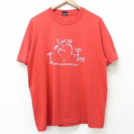 【中古】古着 半袖 ビンテージ ヴィンテージTシャツ 80年代 80s バレンタインデー ハート クルーネック 丸首 USA製 アメリカ製 赤 レッド Lサイズ 中古 メンズ   春夏 夏物 夏服 ヴィンテージTシャツ メンズファッション カットソー ティーシャツ ティシャツ メンズTシ