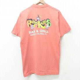 【中古】古着 半袖 ビンテージ ヴィンテージTシャツ 80年代 80s Rookies コットン クルーネック 丸首 USA製 アメリカ製 ピンク Lサイズ 中古 メンズ   春夏 夏物 夏服 ヴィンテージTシャツ メンズファッション カットソー ティーシャツ ティシャツ メンズTシャツ 半袖T
