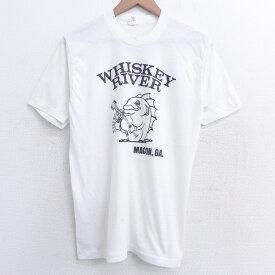 【中古】古着 半袖 ビンテージ ヴィンテージTシャツ 80年代 80s 魚 ウィスキー クルーネック 丸首 USA製 アメリカ製 白 ホワイト Mサイズ 中古 メンズ   春夏 夏物 夏服 ヴィンテージTシャツ メンズファッション カットソー ティーシャツ ティシャツ メンズTシャツ 半