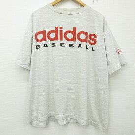 【中古】古着 アディダス adidas 半袖 ビンテージ ヴィンテージTシャツ メンズ 90年代 90s ベースボール ビッグロゴ 大きいサイズ 2L LL ビッグシルエット ゆったり ビッグサイズ オーバーサイズ クルーネック 丸首 USA製 アメリカ製 薄グレー 霜降り XLサイズ 中古  