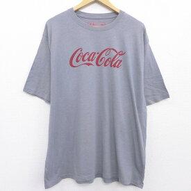 【中古】古着 半袖Tシャツ メンズ コカコーラ ビッグロゴ 大きいサイズ 2L LL ビッグシルエット ゆったり ビッグサイズ オーバーサイズ クルーネック 丸首 グレー 霜降り XLサイズ 中古 中古メンズ半袖プリントキャラクター