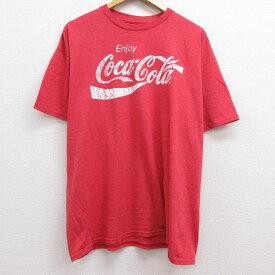 【中古】古着 半袖Tシャツ メンズ コカコーラ 大きいサイズ 2L LL ビッグシルエット ゆったり ビッグサイズ オーバーサイズ クルーネック 丸首 赤 レッド 霜降り XLサイズ 中古 中古メンズ半袖プリントキャラクター