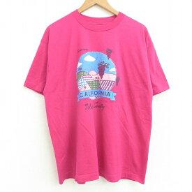 【中古】古着 半袖 ビンテージ ヴィンテージTシャツ メンズ 80年代 80s カリフォルニア ブドウ クルーネック 丸首 USA製 アメリカ製 濃ピンク XLサイズ 中古   春夏 夏物 夏服 ヴィンテージTシャツ メンズファッション カットソー ティーシャツ ティシャツ メンズTシャ
