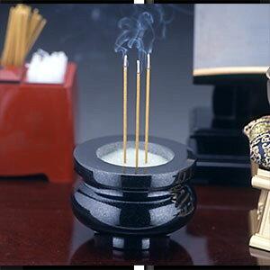 黒御影石高級香炉(水晶灰付)