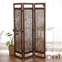 アジアン家具acbiチーク無垢木とラタンの衝立パーティションACP333KA