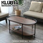 センターテーブル楕円形リビングアイアン木目柄インダストリアルおしゃれ組立KLUB14RST020BK