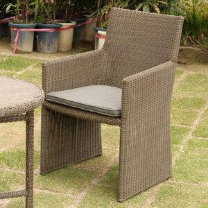 リゾートガーデン アームチェアー 1人掛け 1P 屋外で使えるラタン風肘掛け椅子 撥水生地のクッション付き お庭でカフェのように過ごす テラスやベランダにもおすすめ テーブルとセットで