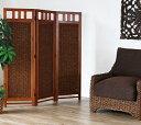 アジアン ロースクリーン 3連 高さ130cm 木製フレームに水草を編みこんだおしゃれなパーテーション お部屋の間仕切りや目隠しに便利な3枚パネルの衝立 室内での日よけにも 低いタイプで圧迫感軽減 創業100年 籐家具専門メーカーの技術 SW22-3CF