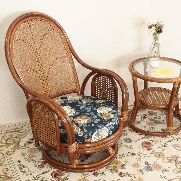 回転椅子 籐製 回転座椅子 肘付き ラタンチェア 回転式 籐椅子 ハイバック 座椅子 クッション やわらかい 座り心地 立ち座り 楽々 軽い 丈夫 イス 和室 花柄 敬老の日 父の日 母の日 祖父 祖母 プレゼント おすすめ 創業100年籐家具専門メーカー C312HRA