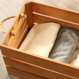 天然木のナチュラルテイストの収納ボックス 小物や衣類を収納できるかわいい木製バスケット 持ち手付きで持ち運びに便利なかご 西海岸風インテリアにもおすすめ GK905XP