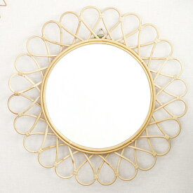 ラタンサンミラー 花型 径60cm フランスでは古くからアンティークとして愛用されている籐製のおしゃれなウォールミラー 軽量な壁掛け式鏡 Q16353ND