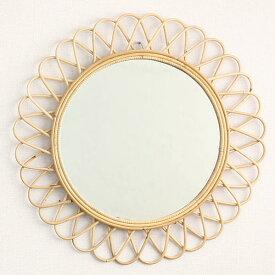 ラタンサンミラー 花型 径70cm フランスでは古くからアンティークとして愛用されている籐製のおしゃれなウォールミラー 軽量な壁掛け式鏡 Q17454ND