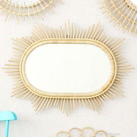 ラタンサンミラー 星型 70×50cm フランスでは古くからアンティークとして愛用されている籐製のおしゃれなウォールミラー 軽量な壁掛け式鏡 Q17915ND
