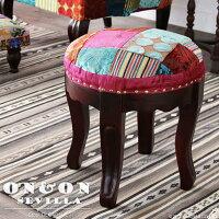 丸スツールチェア椅子イスパッチワークベロア調ベルベット刺繍ハッピーカラフルクラシックアンティークモロッコフレンチインテリアデザインテイストクッションやわらかい座り心地かわいいおしゃれ女性プレゼントON&ONSEVILLADLC401ML