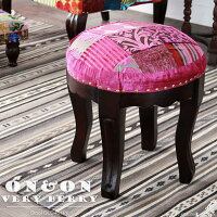 丸スツールチェア椅子イスパッチワークベロア調ベルベット刺繍ハッピーカラフルクラシックアンティークモロッコフレンチインテリアデザインテイストクッションやわらかい座り心地かわいいおしゃれ女性プレゼントON&ONVERYBERRYDLC401PK