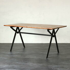 インダストリアル ダイニングテーブル 150cm幅 4人用 木製 天然木 鉄 アイアン アンティーク加工 レトロ ビンテージ感 食卓 カフェ KLUB14 RET520BK-B