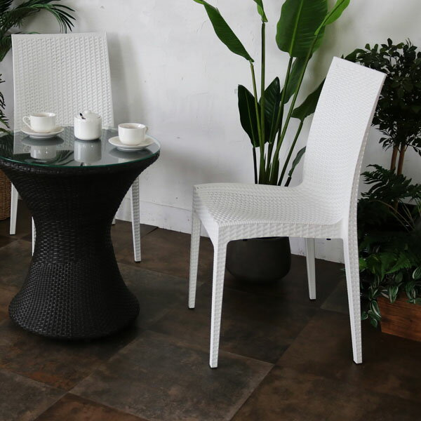ガーデンチェア 屋外 スタッキング 1脚 アウトドア バーベキュー キャンプ ガーデン 庭 テラス 白 ホワイト ダイニングチェア 椅子 パーソナルチェア 北欧 西海岸 籐ラタン風 アジアン おしゃれ C1601PWH