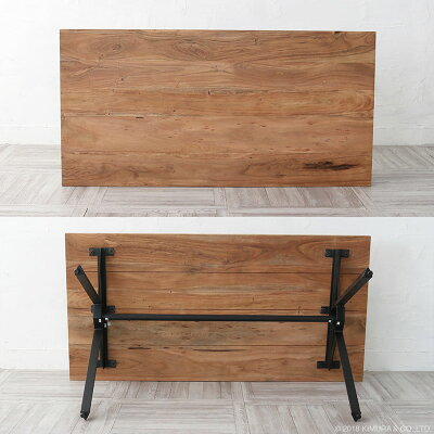 【数量限定SALE¥49,990→¥44,990】インダストリアルダイニングテーブル150cm幅4人用木製天然木鉄アイアンアンティーク加工レトロビンテージ感食卓カフェKLUB14RET520BK-B