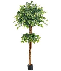 人工観葉植物 大型 光触媒スプレープレゼント 210cm ダブルフィカスツリー(ナチュラルトランク) [LETR7639]フェイク グリーン 造花 インテリア おしゃれ 代引決済不可