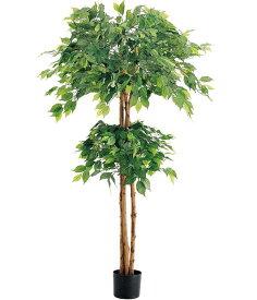 人工観葉植物 大型 造花 フェイク グリーン 光触媒スプレープレゼント 150cm ダブルフィカスツリー(ナチュラルトランク) [LETR7637] インテリア 代引決済不可