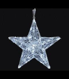 ★クリスマスツリーライト 耐水60cm100球広角型LEDホワイトグロー立体スター(8機能コントローラー付き) [DILI61073]