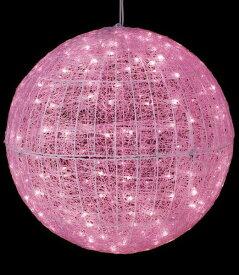 ★クリスマスツリーライト 電飾 耐水80cm240球広角型LEDピンクグロー立体ボール/常点灯(パワーコード付) [DILI61114]