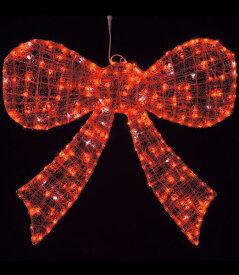 ★クリスマスイルミネーションライト 電飾 耐水105cm288球広角型LEDレッドグロー立体ボウ/点滅 [DILI61094]