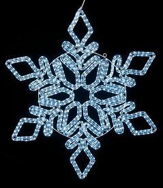 ★クリスマス電飾 耐水100cm360球広角型LEDホワイトロープライトスノーフレーク/常点灯(パワーコード付き) [DILI61192]