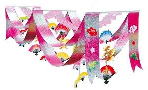 エンボス扇鶴ペナント[MRSMIB-7702]|デコレーション 店舗装飾 飾り 飾りつけ 飾り付け 正月 正月飾り 装飾 ペナント 扇子 鶴