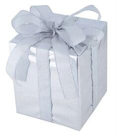 キューブギフトボックス(Mサイズ)シルバー[MRS18−14003]|クリスマス クリスマスツリー デコレーション 店舗装飾 飾り 飾りつけ 飾り付け 装飾 ギフトボック プレゼント シルバー