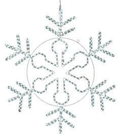 ★クリスマス電飾 耐水100cm450球広角型LEDホワイトロープライトスノーフレーク/常点灯(パワーコード付き) [DILI61191]