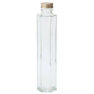 細口ガラス瓶 六角型 ネジ栓付き 4本入り 花器 ベース 花器(ガラス) ガラス [T-GG020604] 代引決済不可