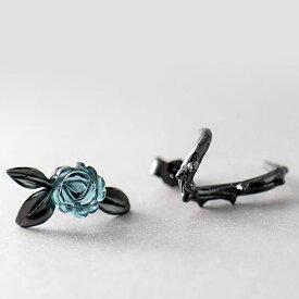 ピアス シルバー 925 クリスタル バラ 薔薇 フラワー 葉 はっぱ リーフ レディース 花 小さい シンプル ブルー グリーン 女性 アレルギー対応 プチプラ 着けっぱなし ボディピアス ファーストピアス カジュアル フォーマル