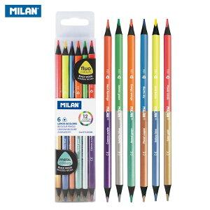 MILAN ミラン 色鉛筆 メタル ネオン 蛍光 セット 6本 12色 三角 両端 ダブルエンド ダブルカラーペンシル ブラックウッド 07123306