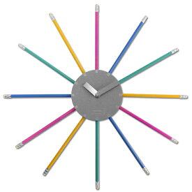 【アウトレット】掛け時計 壁掛け 時計 おしゃれ クロック ウォールクロック デザイン時計 えんぴつ 色鉛筆 個性的 ユニーク 珍しい 【返品交換不可】