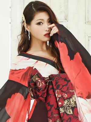 花魁コスプレ衣装和柄ドレスコンパニオン衣装着物ドレス流遊花魁着物ドレス中ミニ和柄あす楽