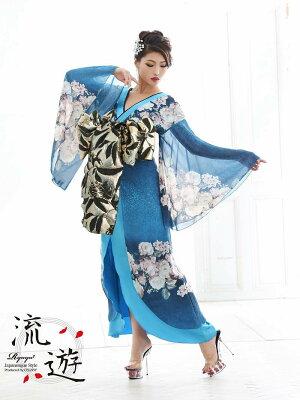 花魁コスプレ衣装和柄ドレスコンパニオン衣装着物ドレス流遊花柄花魁着物正月あす楽