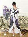 花魁 コスプレ 衣装 和柄ドレス コンパニオン 衣装 着物 ドレス セクシー エロ 花魁コスプレ 流遊 中ミニ 紫 白 シフ…