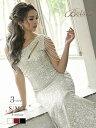 キャバ ドレス キャバドレス ロングドレス パーティードレス スパンコール バースデー ドレープ ワンショルダー 即日…