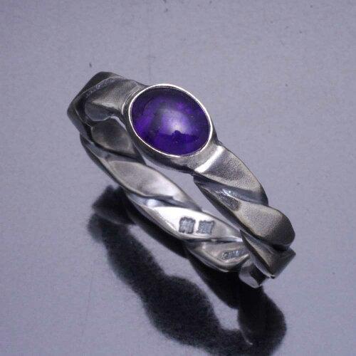 【送料無料】龍頭ツイストリングアメジスト指輪シルバーシンプル和柄和風ユニセックスペア8号〜27号