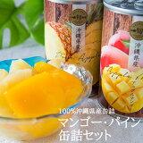 【送料無料】沖縄県産マンゴー・パイン缶詰2缶化粧箱入り