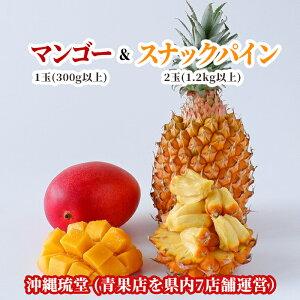 【送料無料・即発送可】沖縄県産アップルマンゴー&スナックパイン食べ比べセット1玉(300g以上)&2玉(1.2kg以上)