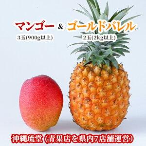 【送料無料・即発送可】沖縄県産アップルマンゴー&ゴールドバレル食べ比べセット 3玉(900g以上)&2玉(2kg以上)