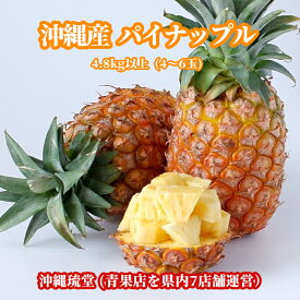 【送料無料・即発送可】沖縄県産パイナップル(パインアップル) 4.8kg以上(4〜6玉)パイン パイナップル 沖縄 フルーツ ギフト 贈り物対応可