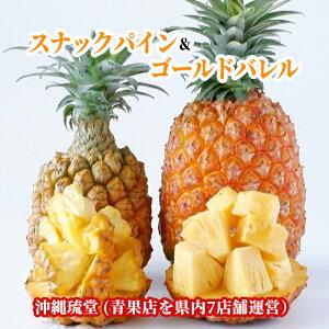 【送料無料・即発送可】沖縄県産スナックパイン&ゴールドバレル食べ比べセット1.2kg以上(1〜2玉)&1kg以上(1〜2玉)パイナップル 無添加 国産 フルーツ