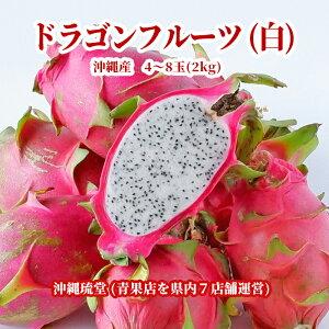 【送料無料・即発送可】沖縄県産ドラゴンフルーツ(白) 2kg(4〜8玉)ホワイトピタヤ 食物繊維が豊富 無添加 沖縄 フルーツ